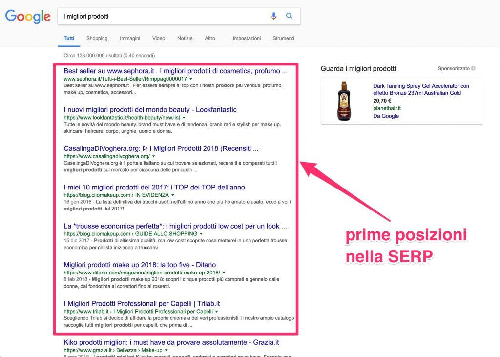 SEO: Risultati prima pagina di Google
