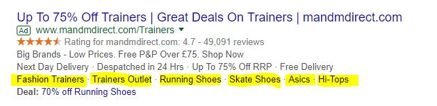 screenshot di Google AdWords estensioni